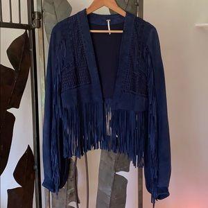 Free People blue fringe suede jacket size M